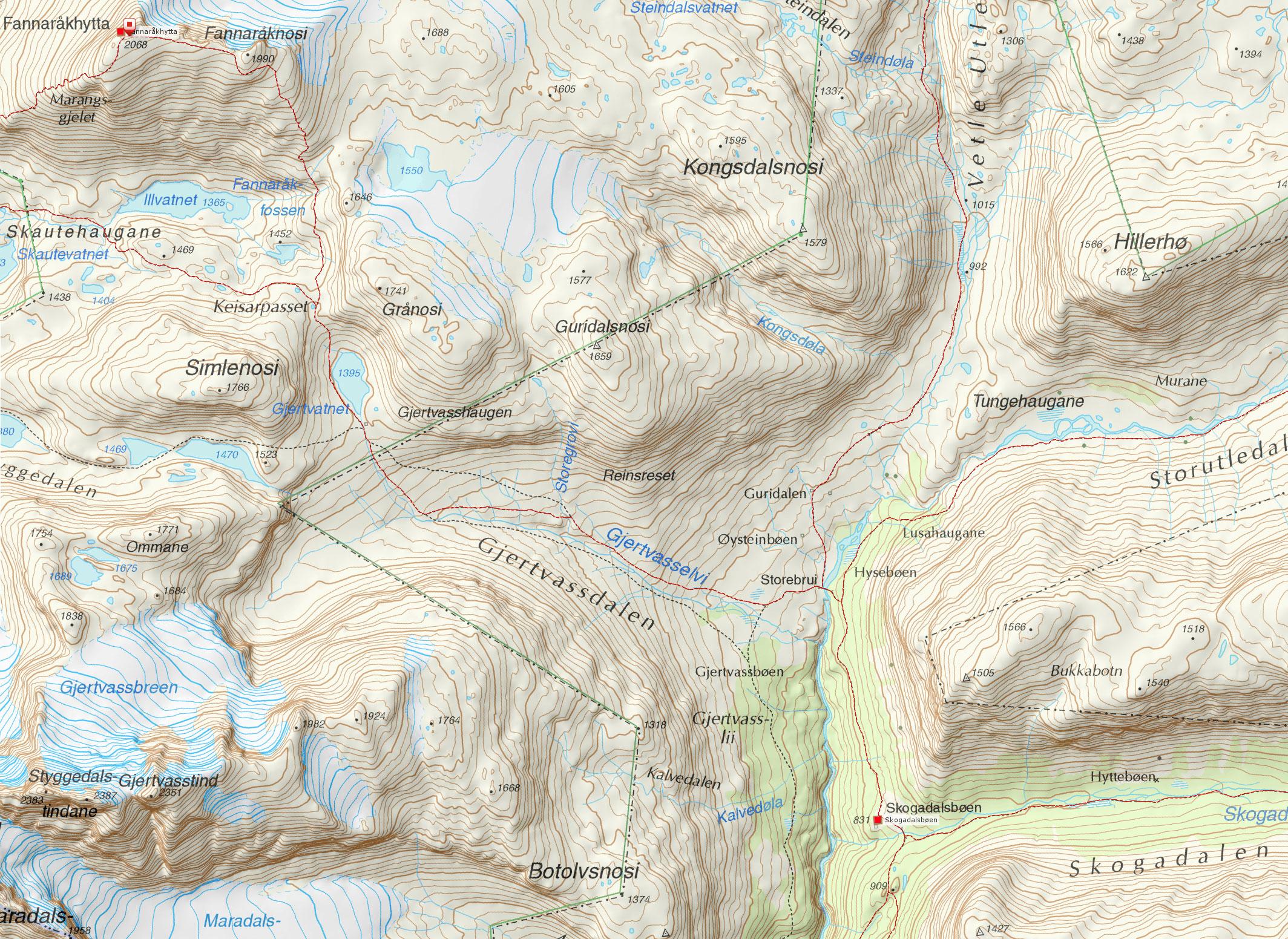 terreng kart norge VANDRINGER I NORGE terreng kart norge